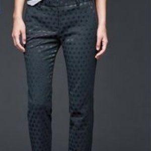GAP Blue Polka Dot Jacquard Slim Crop Pants